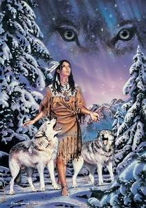 güzel kız ve kurt köpekleri, Native American woman and ...