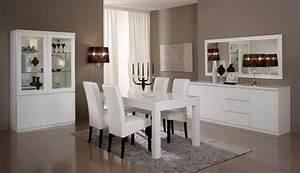 Salle a manger complete roma laque blanc laque blanc for Meuble de salle a manger avec matelas À eau