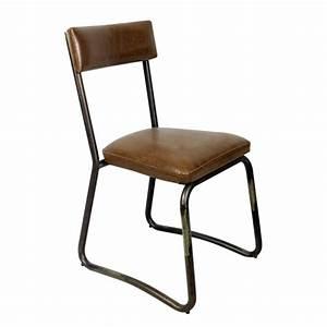 Chaise Industrielle Cuir : chaise industrielle dos et assise rembourre en cuir couleur marron cbr 420 one mobilier ~ Teatrodelosmanantiales.com Idées de Décoration