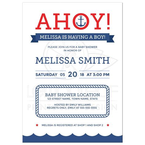 holiday stationery ahoy nautical baby shower invitation with anchor and
