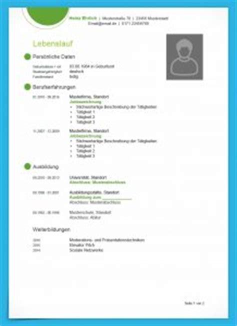 Muster Bewerbung Lebenslauf by Kostenlose Lebenslauf Muster Und Vorlagen Zum