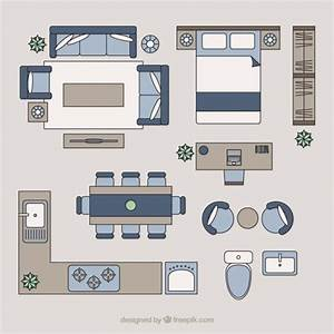 Home furniture in top view vector premium download for Kitchen furniture top view
