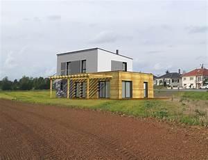 maison en bois toit plat maison cubique ossature bois With maison bois toit terrasse