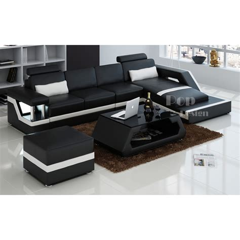 canapé en cuir design canapé d 39 angle design en cuir véritable tosca pouf pop