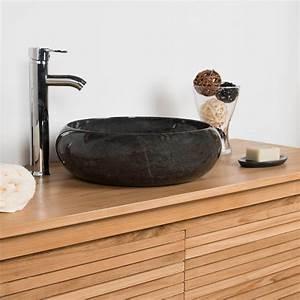 Vasque a poser en marbre venise ronde noire d 40 cm for Salle de bain design avec fil métallique décoratif