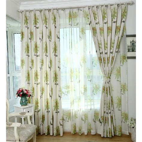 beige sunflower print linen cotton country patio door curtains