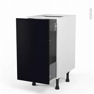 Meuble De Cuisine Noir : meuble de cuisine bas coulissant ginko noir 1 porte 1 tiroir l 39 anglaise l40 x h70 x p58 cm oskab ~ Teatrodelosmanantiales.com Idées de Décoration