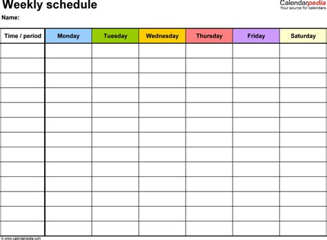 weekly schedule template google docs planner template