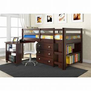 Twin, Loft, Bed, With, Desk, And, Storage