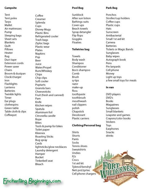 packing camping disney wilderness tent excessive checklist lists bit trip ft hiking