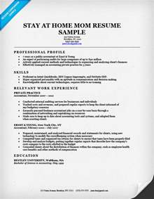 resume stay at home sle stay at home resume sle writing tips resume companion