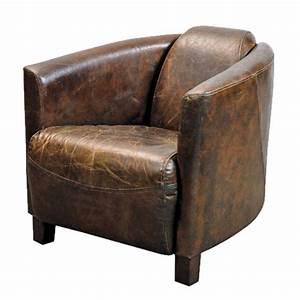fauteuil club en cuir brun vieilli With fauteuil club cuir