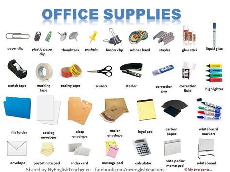 office supplies vocabulary with pictures 13 pictures to improve