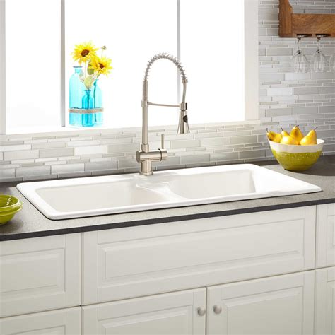 43 quot selkirk white double bowl cast iron drop in kitchen sink kitchen
