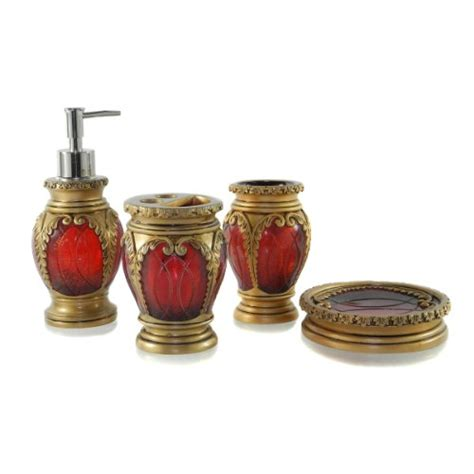 Burgundy And Gold Bathroom Accessories by Bathroom Decor