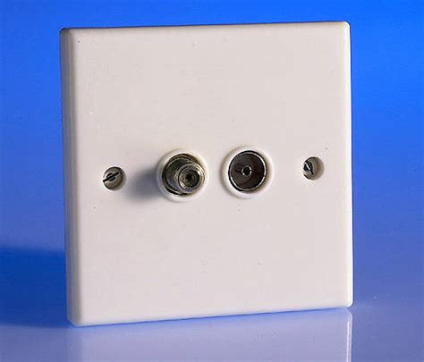twin tv coaxial aerial satellite socket white