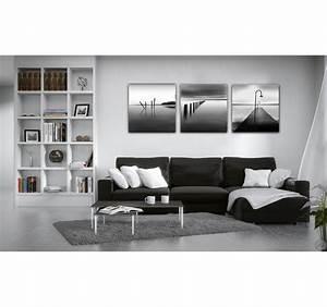 Tableau Deco Noir Et Blanc : oc an noir et blanc triptyque design artwall and co ~ Teatrodelosmanantiales.com Idées de Décoration