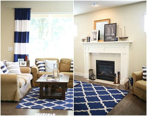 Updating Our Nautical Living Room. White Kitchen With Light Floors Blue Tile Countertop Best Backsplash Can You Paint Laminate Countertops Inexpensive Flooring Options For Cream Colored Cabinets And Dining Room Colors