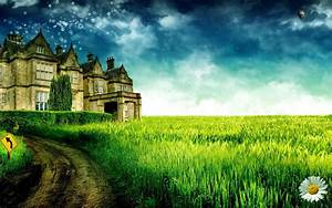 Castle in Field of Grass Full HD Wallpaper and Background ...