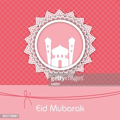 beautiful pink eid mubarak greeting card design high res