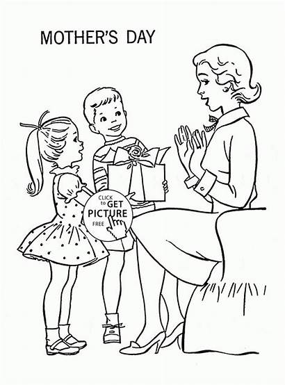 Coloring Pages Mothers Mother Happy Mom Printables