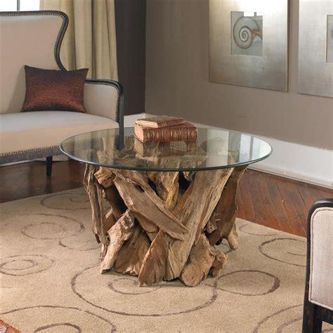 Coastal coffee tables with storage. Plymouth Coastal Beach Teak Driftwood Round Glass Coffee Table