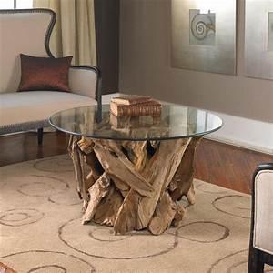 plymouth coastal beach teak driftwood round glass coffee table With driftwood coffee table with glass top
