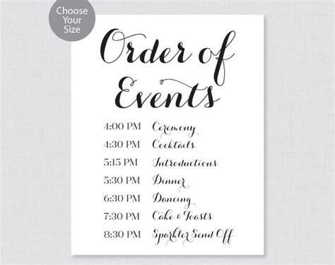 printable order   sign black  white wedding