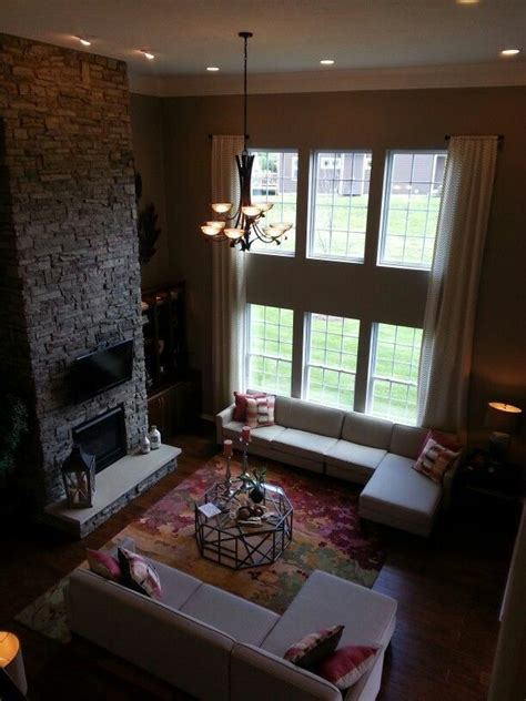 story family room stacked stone fireplace house design home family room