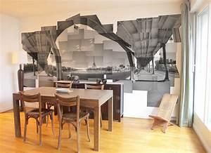 deco salle a manger papier peint With salle À manger contemporaine avec idée papier peint salon salle À manger