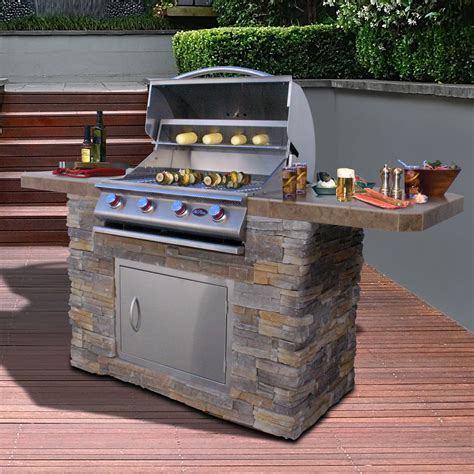 cal flame  ft natural stone bbq island   burner gas grill outdoor kitchens  hayneedle