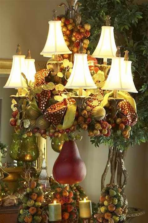fruity decorating a chandelier for