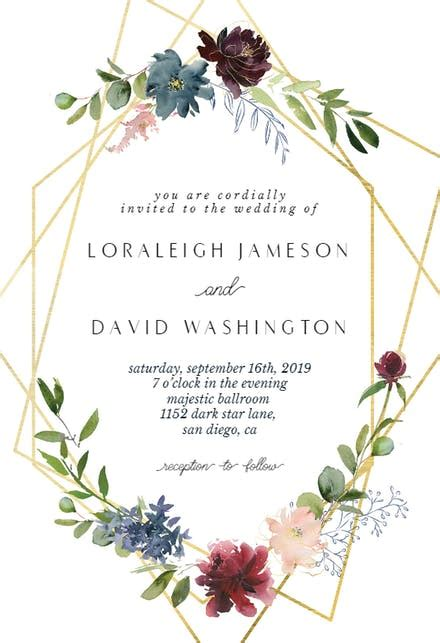 geometric flowers wedding invitation template   island