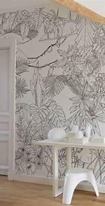 Papier Peint Arbre Noir Et Blanc : papier peint panoramique tropical noir et blanc ~ Nature-et-papiers.com Idées de Décoration