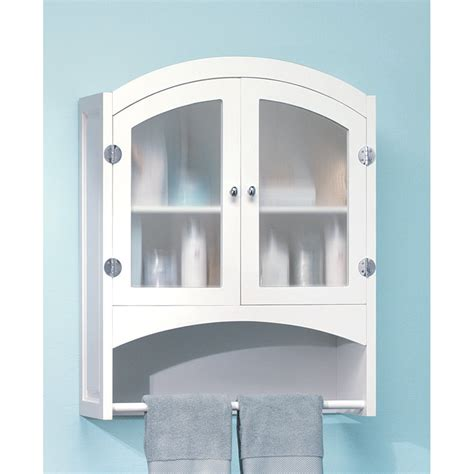 Bathroom Wall Cabinet With Towel Bar White by White Wood Bathroom Linen Wall Cabinet With Towel Rack Ebay
