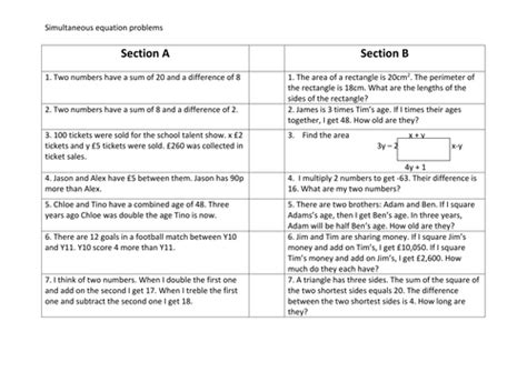 worded simultaneous equations problems  ascj