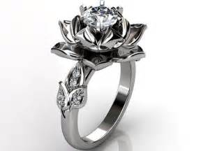 flower engagement ring lotus flower engagement ring 14k white gold unique lotus flower engagement