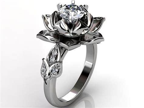lotus flower engagement ring 14k white gold
