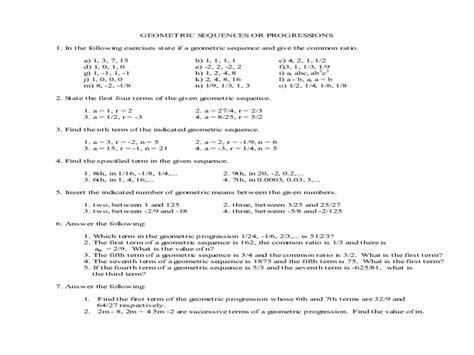 geometric series and sequences worksheet breadandhearth