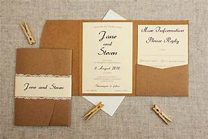 rustic cream and lace pocketfold wedding invitation be With wedding invitation pockets nz