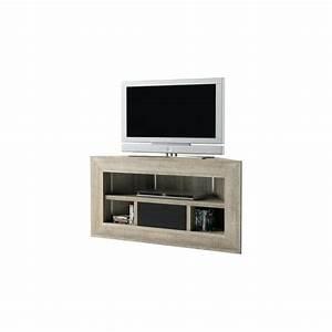 Meuble D Angle Pas Cher : meuble tv bas taclac design noir et noyer pas cher blanc de tele thesilurian ~ Teatrodelosmanantiales.com Idées de Décoration