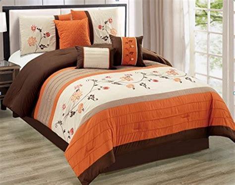 modern 7 piece king floral embroidered bedding orange brown beige stripe comforter set with