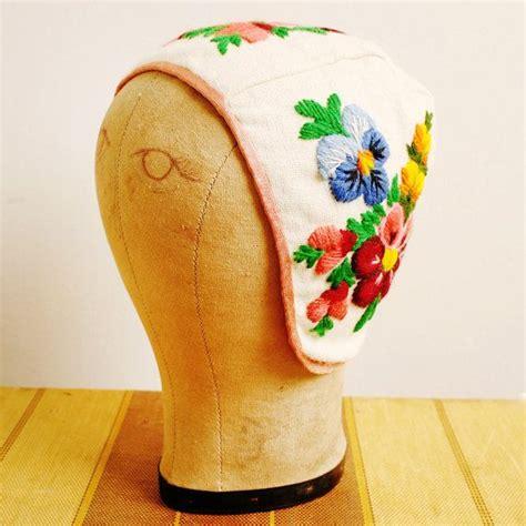vintage scandinavian floral crewel cap handmade