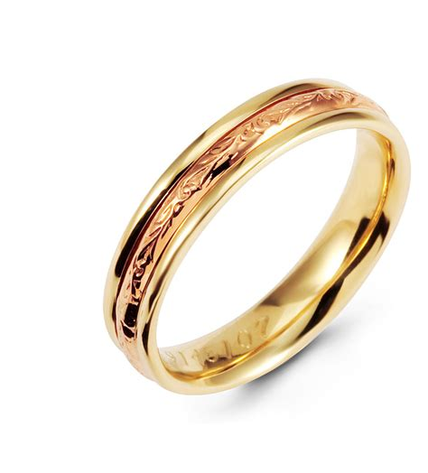 scrolled unique 14k rose yellow gold wedding ring band wedding bands bridal jewelry