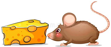 a mouse and a slice of cheese stock vector 39272274