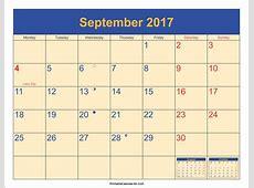 September 2017 Calendar Printable with Holidays PDF and JPG