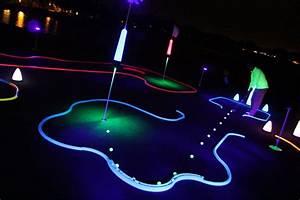 Blue Mini Lights Office Golf 1 Hole Putting Track Kit Glowgear Night Golf