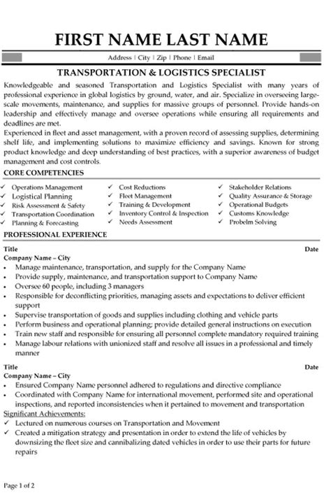 transportation logistics specialist resume sle template