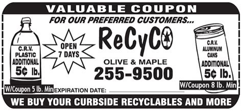 60391 Inc Coupons by Bottle And Can Recycling Fresno Ca Recyco Inc