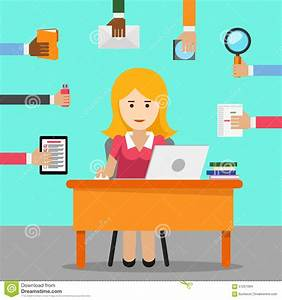 Secretary. Busy Woman For Office Work Stock Vector - Image ...